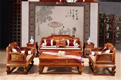大丰居刺猬紫檀松鹤沙发