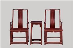 小叶紫檀   官帽椅3件套