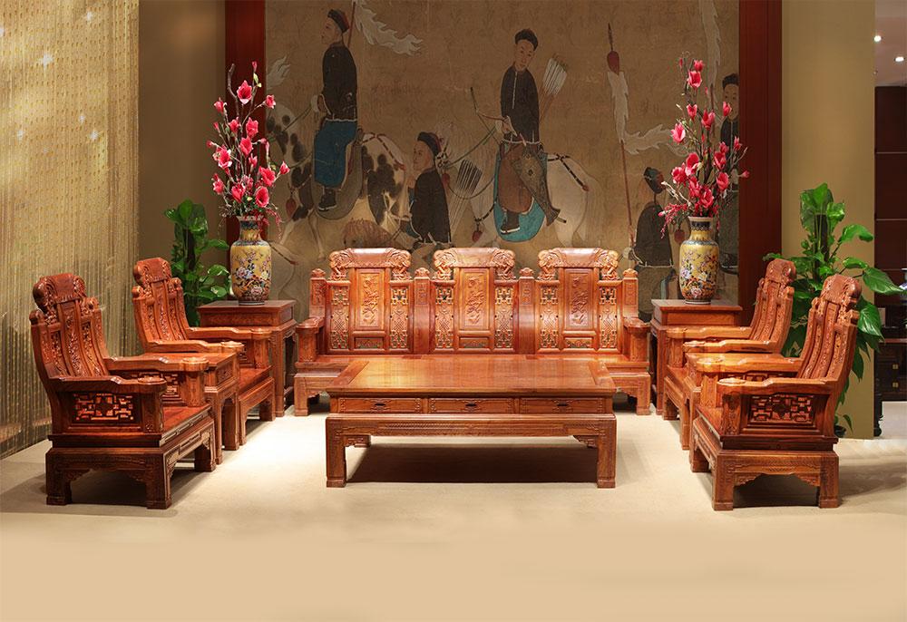 刺猬紫檀  豪华大象沙发(加大)10件套