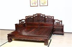 鸿庭轩红木:红酸枝  大床3件套