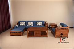 东阳卓瑞qy288千赢国际家具新中式花梨木转角沙发5件套