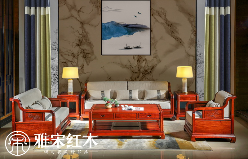 新中式软体沙发6件套
