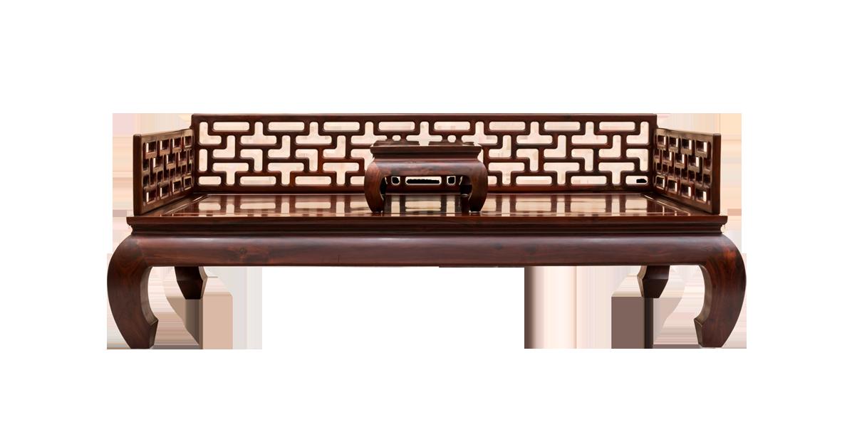 大红酸枝明式曲尺罗汉床