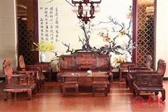 大红酸枝国色天香沙发13件套