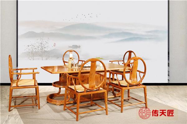 传天匠红木刺猬紫檀至善茶台