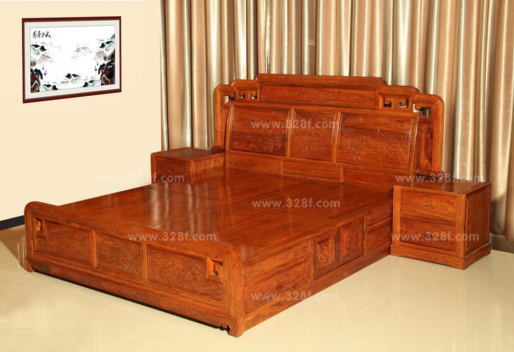 品牌红木网 产品大全 套房系列 >> 刺猬紫檀 国色大床 3件套