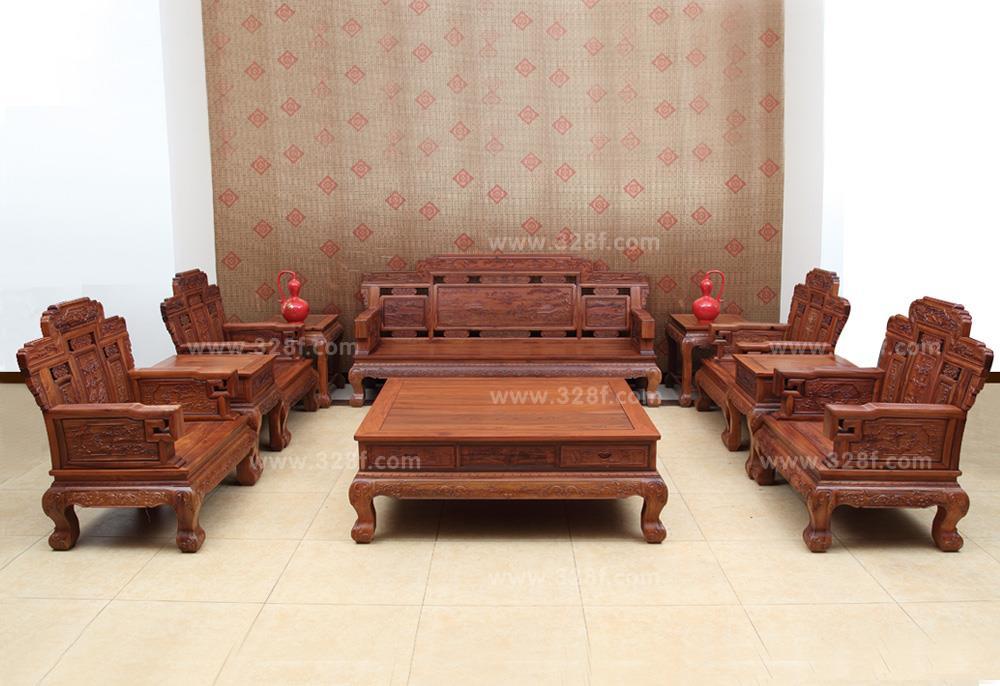 红木云 客厅系列 >>非洲酸枝 江山如画沙发