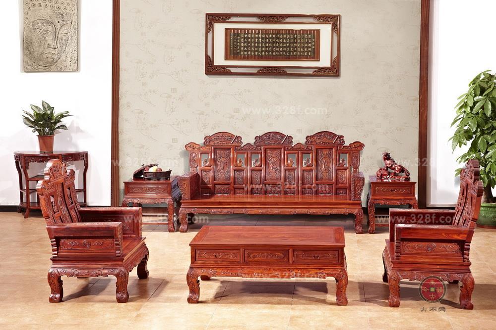 小叶红檀 加贺沙发 6件/套图片