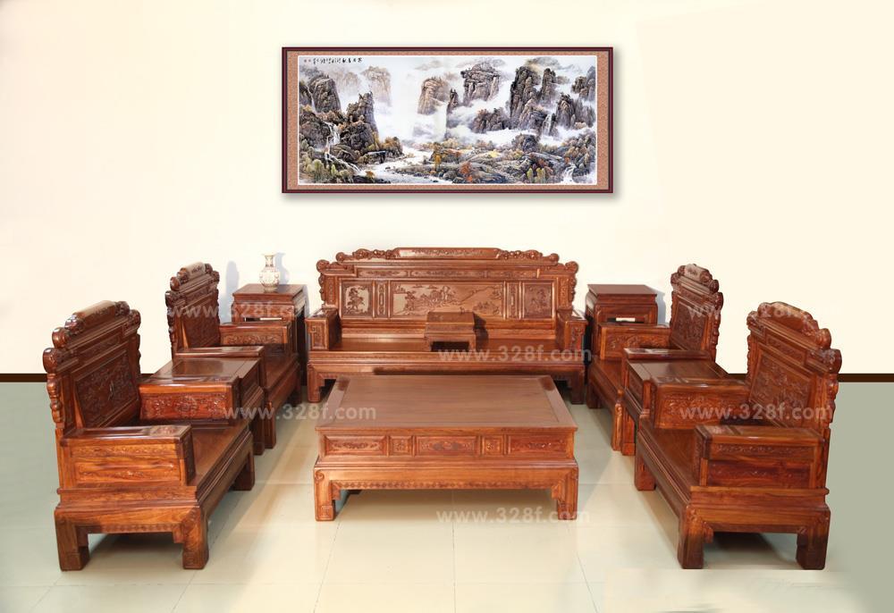品牌红木网 产品大全 客厅系列 >> 刺猬紫檀 兰亭序沙发 10件套