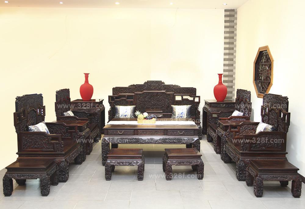大红酸枝花开富贵沙发15件套