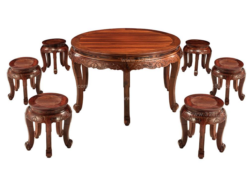 品牌红木网 产品大全 餐厅系列 >> 红酸枝 草龙圆餐桌7件套    产品