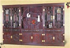 黑酸枝/非洲红酸枝 加顶山水书柜组合 3件套
