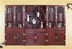 黑酸枝/非洲红酸枝 山水书柜三组合3件套