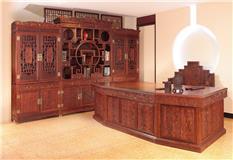 大红酸枝 盛世三组合书柜 3件套