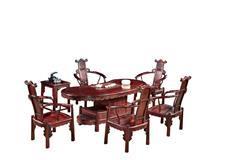 大红酸枝 155腰型茶台 6件套