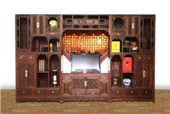 大红酸枝博古架电视柜组合3件套