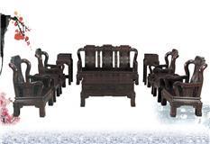 黑紫檀   花开富贵沙发10件套