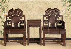 黑紫檀灵芝椅3件套
