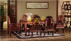 大红酸枝 大象宝座餐台