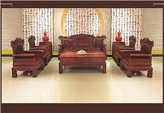 大红酸枝 祥和富贵沙发十一件套