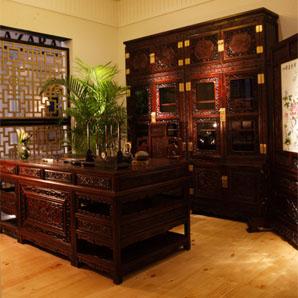 书香世代书柜、双狮戏球大班台