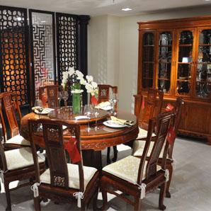 博古龙圆台54寸11A款、提花玻璃餐柜