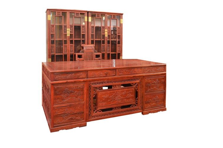 红檀明式书柜/2米办公桌4340