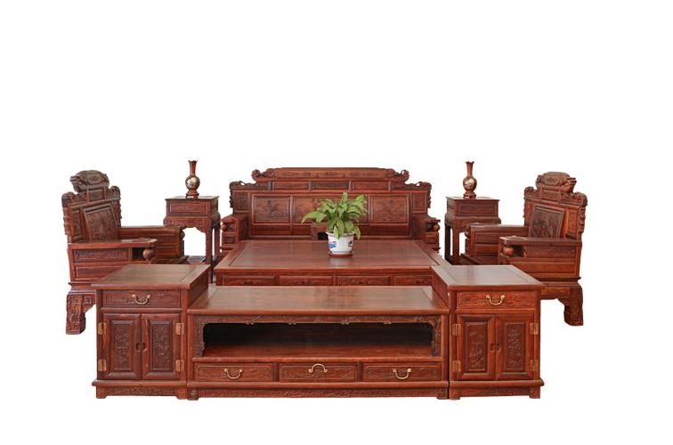 花鸟沙发7件套/2.4组合地柜4202