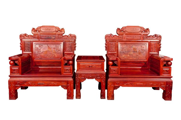 花鸟三件套沙发(小叶红檀)