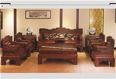 金丝黄檀(镶黄杨木) 花鸟宝座沙发