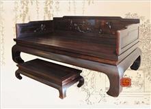 东阳红木家具新中式檀雕老挝大红酸枝寒雀图罗汉床
