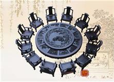 qy288千赢国际古典家具大叶紫檀团团圆圆十二生肖圆台13件套