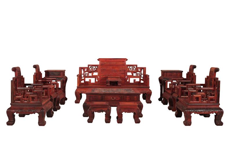红木云 客厅系列 >>老挝大红酸枝兰亭序沙发    产品单价:     面议