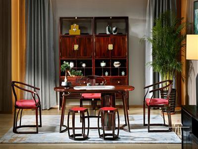文宋红木当代中式黑酸枝和风茶台