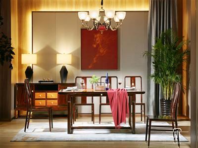 文宋红木当代中式黑酸枝知境餐台