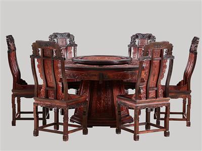 波记家具:老挝大红酸枝圆台