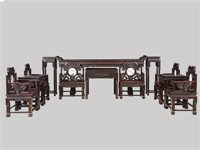 波记家具:印度小叶紫檀灵芝中堂12件套