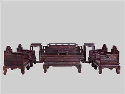 波記家具:印度小葉紫檀雕龍沙發11件套