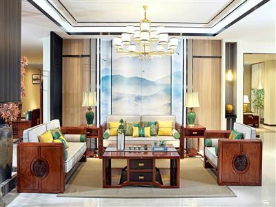 印巷森刻刺猬紫檀观澜沙发