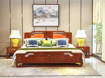 印巷森刻刺猬紫檀喜上梅梢大床