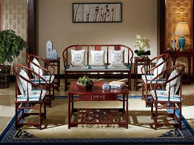 国方家居大红酸枝圈椅沙发
