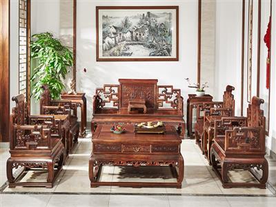 鸿运堂红木 老挝大红酸枝独板沙发(学名交趾黄檀) 龙凤卷书沙发 八宝独板沙发 高端红木家具 中式红木沙发 独板红木家具 客厅系列