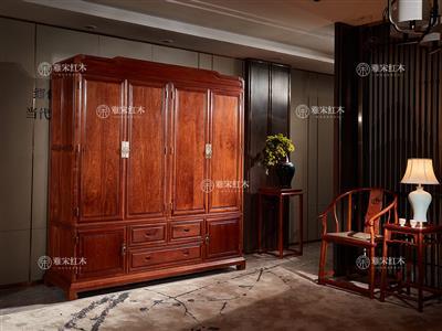 雅宋红木财运衣柜 缅甸花梨衣柜 红木衣柜 大果紫檀卧室家具