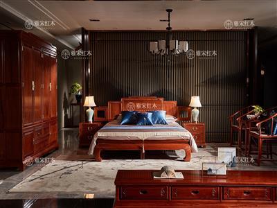 雅宋红木 1.8米雅宋大床 缅甸花梨大床 红木大床