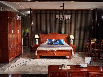 雅宋红木1.8米百子大床  缅甸花梨大床  红木大床